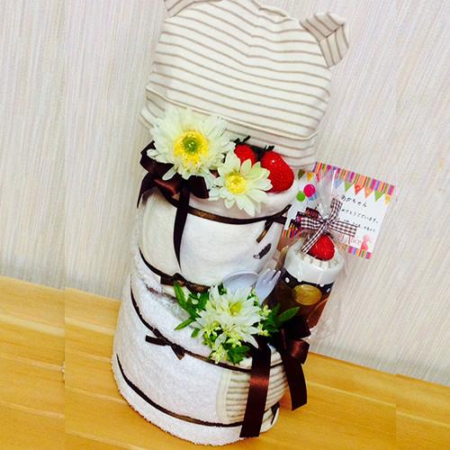 【オーダーメイド】オーガニックアイテム満載のおむつケーキ