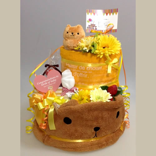 オーダーメイドのおむつケーキ「カピバラさん」